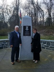Medal of Honor Recipient Jim McCloughan and his wife Cherie visiting the AOH Monument at the Medal of Honor Grove in Valley Forge