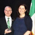 Liam McNabb Accepting Honor for His Father Tom McNabb at Irish Heritage Museum - Gov. Hugh Carey Awards Gala